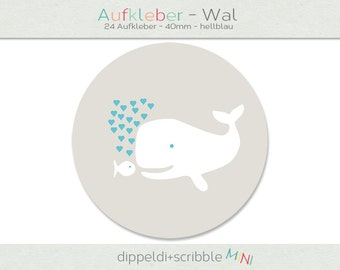 Sticker baby whale heart light blue