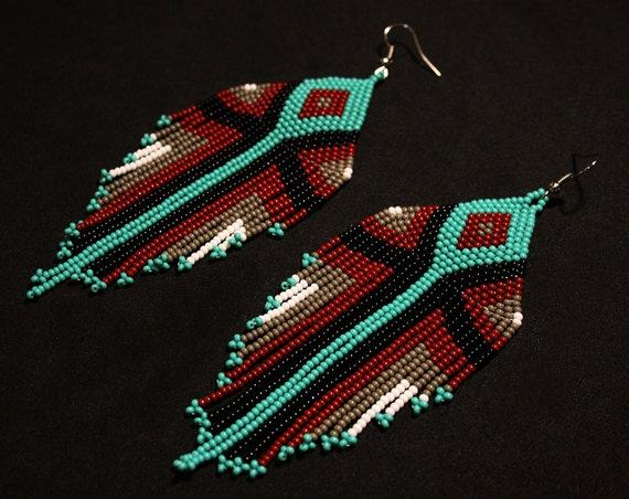 Boho Tribal Chandelier Earrings, Native American Beaded Earrings, Geometric Aztec Earrings, Large Dangling Earrings, Statement Earrings