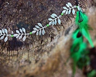 Boho headpiece Spring fashion accessories Green feather headband Free-spirited style Leaf headpiece Leaf headband