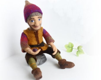 Felt Doll, Felted Doll Gnome, OOAK Art Doll, Needle Felted Fairy-Tale,  Personalized,  Amethyst, Geologist, Original exclusive gift, SALE