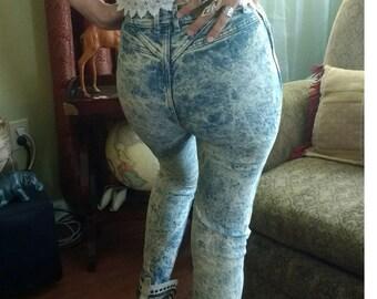 80s acid wash skinny Lee jeans