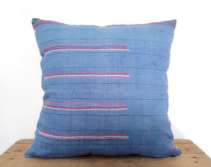 "18""x18"" Beautiful Blue with Neon Stripes Ethnic Hmong Fabric Pillow Cover, Vintage Hill Tribe Textile Pillow Case, Bohemian Throw Pillow"