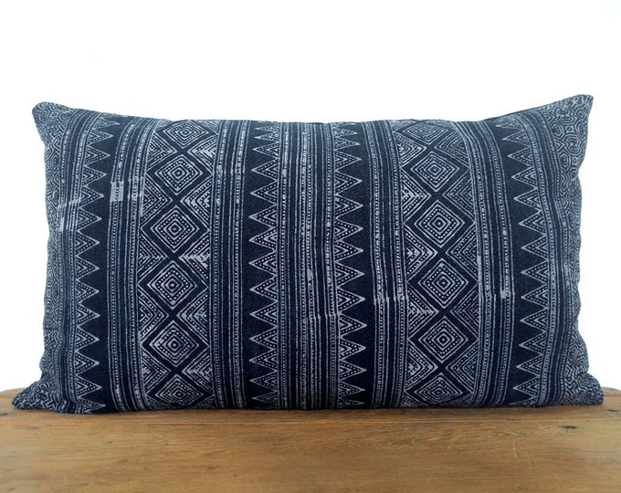 Incredible Hmong Handspun Indigo Batik Pillow Cover, Boho Navy Blue Hand Dyed Cotton Throw Pillow, Hill Tribe Ethnic Lumbar Pillow Case