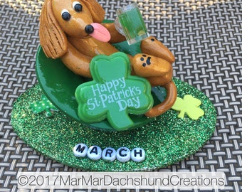 Doxie/Dachshund Figurine of the month for March: Happy St. Patrick's Day!