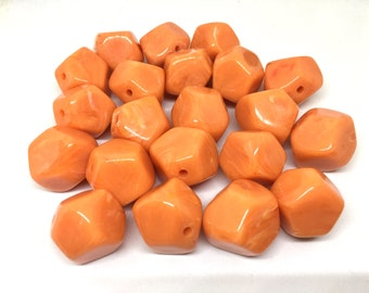 Orange Beads, Tangerine, Acrylic Beads, The Jet-Setter Collection, 22mm beads, Colorful beads, Multi-Color Beads, Gemstones, Chunky Beads