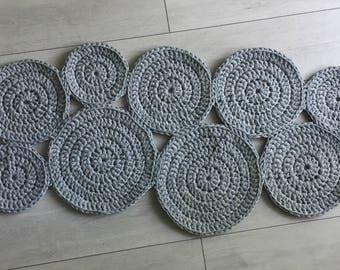 Crochet Circle Rug . Gray | Crochet Rug | Modern Design | Cotton Carpet | Rug Runner | Handmade Rug | Round Rug