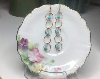 Turquoise Dangles and Rings Earrings