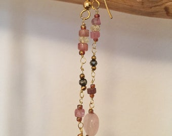 Earrings dangling, beads, and semiprecious stones