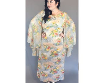 Vtg 1970s Floral Maxi Dress with attached cape