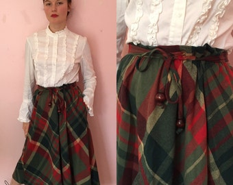 1970s/1980s red and green plaid high waisted skirt/70s skirt small/medium
