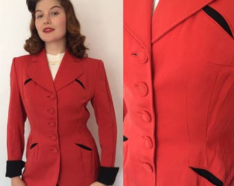 RESERVED SALE WAS 120 Small/medium 1940s red and black jacket/40s blazer