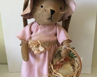 Primitive Stuffed Rabbit...OOAK Rustic Easter Bunny...Shabby Chic Grunged Easter Bunny Decor...Springtime Easter Decor..