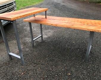 L shaped desk. Industrial desk. Reclaimed wood desk. Office desk. 2 tier desk. Corner desk. Standing desk. Old wood desk.