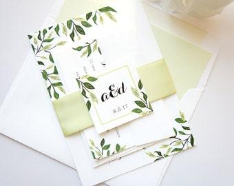 Bohemian Wedding Invitation, Greenery Wedding Invitation Set, Boho Wedding Invitation, Leafy, Green - Deposit