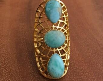 Larimar Gold Ring // Larimar Ring // Larimar