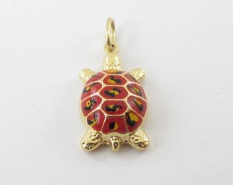 14K Yellow Gold Turtle Charm Pendant - Red And Black Enameled Turtle