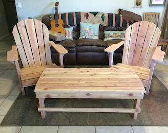 Coffee table to complement Adirondack chairs - Handmade - Redwood