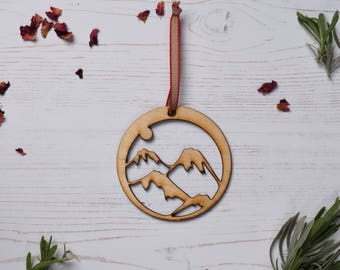 Wooden mountain Decoration 3, holdiay decor, Holiday ornament, wood decoration, birch plywood, FREE P&P!