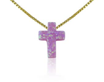 Cross Opal Necklace • Pink Opal Cross on Gold Plated 925 Sterling Silver Chain • Waterproof • Size Kid's to Adults • Unique Rare Find Cross