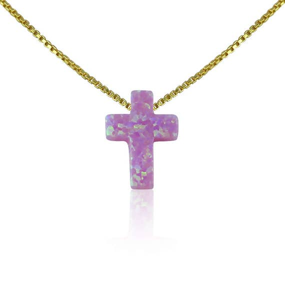 pink cross opal necklace gold plated sterling silver, safe to get wet, size kid's to adults