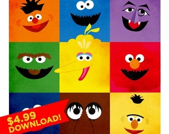 Sesame Street Illustration | Ernie, Cookie Monster, The Count, Oscar the Grouch, Big Bird, Elmo, Grover, Snuffleupagus, Bert | Nursery Decor