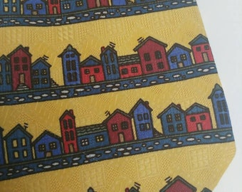 Vintage tie with houses