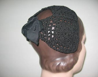 1930's Black Crochet Cap with Grosgrain Bow!