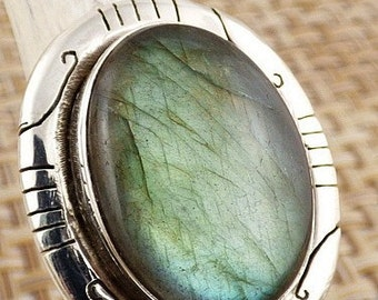 RING LABRADORITE COMMUNE jewelry stone wife natural money in t protection 52 AV68.8