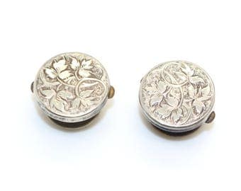 Victorian Silver Color Bachelor Shirt Studs or Buttons or Cufflinks Ivy design at front Antique ca 1890s
