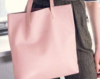 Pink Leather Tote