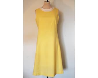 60s/1960s Yellow Cotton Shift Dress, Size 10