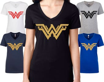 Wonder Woman V-neck Glitter Tee Shirt, Wonder Woman Tee, womens' Shirt, Mothers Day Tee, Wonder Woman Inspired Design, SuperHero Glitter TEE