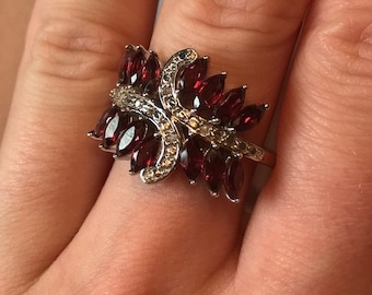Size 9 Rajasthan Garnet and Diamond Ring