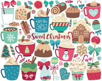 Christmas Clipart - Christmas Sweets & Treats Clip Art, Holiday Clipart, Digital Christmas, DIY Christmas Cards, Unique Holiday Printables