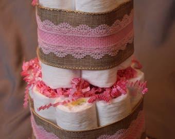 Diaper Cake 2 Tier Burlap