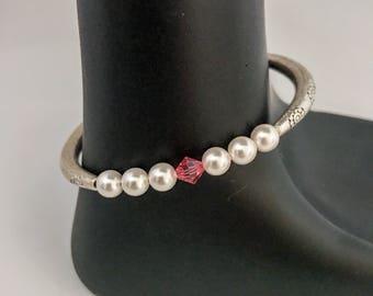 October birthstone bracelet, october bracelet, rose birthstone bracelet, Pink Swarovski crystal bracelet, pink bracelet, pink bead bracelet