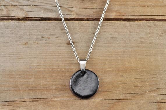 MEDIUM glossy black round stoneware pendant