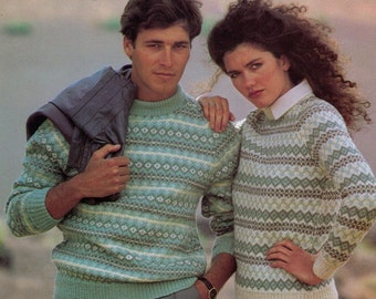 PDF - Women Sweater Knitting Pattern - Men Sweater Knitting Pattern - Fair Isle Knitting Pattern -  Fairisle -Bust Sizes 32-44 (PDF27)