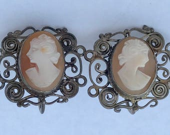 Vintage Sterling Silver 925 Filigree Shell Cameo Earrings Hand Carving