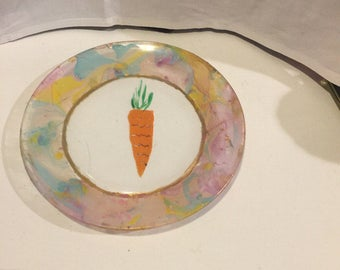 "Carrot For The Easter Bunny Hand Painted Marble Swirl Painted 7"" Glass Plate"