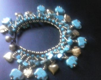 Blue turquoise,cha cha charms, elephant, gold bead spacers and macrame, button closure bracelet, Free shipping