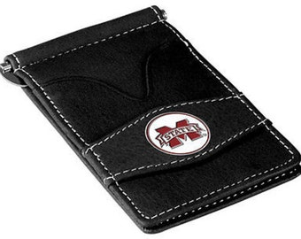 Mississippi State Bulldogs Black Leather Wallet Card Holder