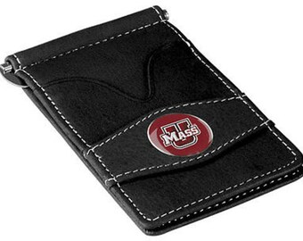 Massachusetts Minutemen Black Leather Wallet Card Holder