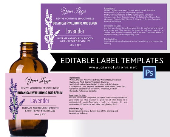 Lavender label template product label Skin Care label
