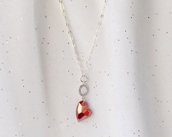 RED SWAROVSKI HEART - Heart Necklace - Red Heart Necklace - Silver Chain Necklace