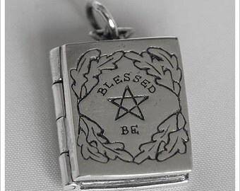 Sterling Silver Blessed Be Book of Shadows Locket Necklace Oak Leaf Design