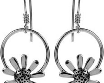 Sterling Silver Daisy Flower Hoop Earrings