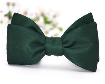 Mens bowtie Emerald Green 100%Natural Pure silk men's self tie bow tie Self Tied S317