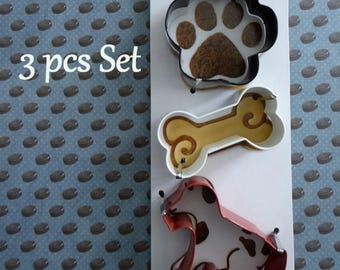 Dog Paw Bone Cookie Cutters 3 pcs set Canape Hors D'Oeuvre Cake Tool Craft Tool
