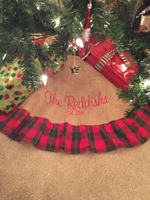 Items similar to monogrammed christmas tree skirt burlap